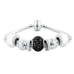 Sterling silver bracelet featuring cubic zirconia & glass charms #monochrome #michaelhill #capturedmoments