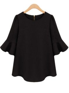 Half Sleeve Flouncing Chiffon Black Blouse