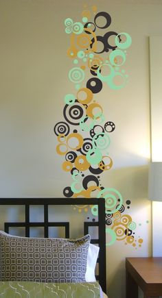 Retro Circles and Polka Dots, Three Color Set  - Vinyl Wall Art Decal Sticker. $27.00, via Etsy. - I like the idea of this in yellow, orange and lime green for the baby's room.
