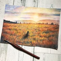 #watercolor #background #art #cat #sunset #水彩 #風景画 #猫 #アナログ