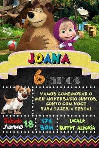 Convite digital personalizado Masha e o Urso 010