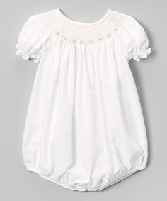 Look at this Sweet Dreams White & Pink Cyndy Smocked Bubble Romper - Infant on #zulily today!