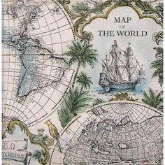 Servilleta decorada mapa antiguo del mundo