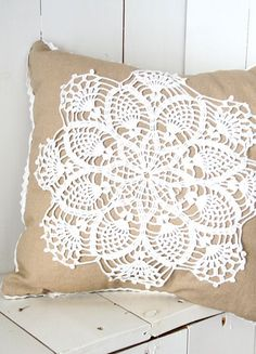 Linen pillow with crochet doily. But with purple and mint green.: