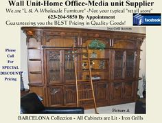 Parker House, Media Unit, Wholesale Furniture, House Furniture, Home Office, Barcelona, Iron, The Unit, Facebook