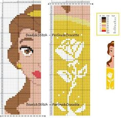 Trendy disney art diy ideas beauty and the beast 42 ideas Disney Cross Stitch Patterns, Cross Stitch For Kids, Cross Stitch Books, Cross Stitch Bookmarks, Crochet Bookmarks, Beaded Cross Stitch, Cross Stitch Charts, Cross Stitch Designs, Cross Stitch Embroidery