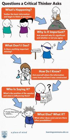 """.: 6 perguntas que um """"pensador crítico"""" deve se faze..."""