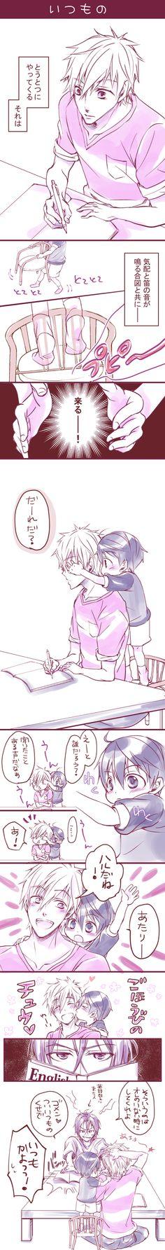 Studying ...  Drawn by pont_o ... Free! - Iwatobi Swim Club, haruka nanase, haru nanase, haru, free!, iwatobi, makoto tachibana, makoto, tachibana, nanase, rin, rin matsuoka, matsuoka