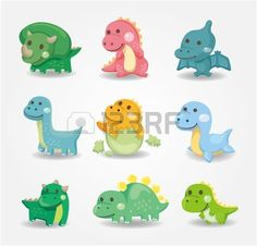 icono de dinosaurios de dibujos animados  Foto de archivo