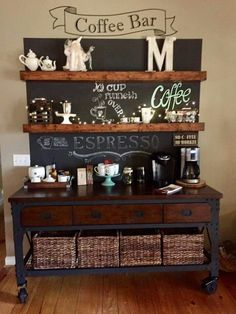 Coffee Bar Decoration Ideas for the perfect coffee station. Black background, stained floating wood shelves, and a coffee shop feel. Coffee Area, Coffee Nook, Coffee Corner, Coffee Bar Station, Home Coffee Stations, Coffee Bars In Kitchen, Coffee Bar Home, Coin Café, Coffee Bar Design
