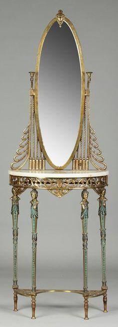 Patinated Bronze Art Deco Hall Table #ArtDeco #VintageTreasures