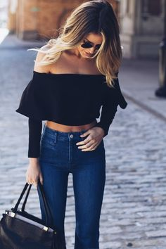 Trendy Ideas For Summer Outfits : / ruffled crop top denim Crop Top Outfits, Mode Outfits, Casual Outfits, Fashion Outfits, Bar Outfits, Fashion Clothes, Woman Outfits, Stylish Clothes, College Outfits