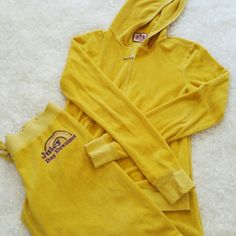 "Juicy Couture Yellow Terry Track Suit Juicy Day Dreamer jacket is size small pants are petite. Inseam of pants is 28"" some wear on bottom of pants see photo Juicy Couture Jackets & Coats"