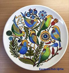 mavicini Pottery Painting, Ceramic Painting, Mexican Paintings, Plate Art, China Painting, Bird Design, Hand Painted Ceramics, Teller, Ceramic Plates