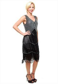 1920's Black BEADED Fringe FLAPPER Dress