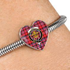 Murray (of Dysart) Tartan Crest Heart Bracelet – Your Tartan Working Mother, Working Moms, Heart Bracelet, Bracelet Watch, Stewart Tartan, Scottish Tartans, Everyday Items, Bangles, Bracelets