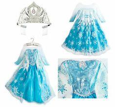 disney store elsa dress | SOLD-OUT-7-8-Disney-Store-ELSA-Frozen-Costume-Dress-Crown-Tiara-FREE ...