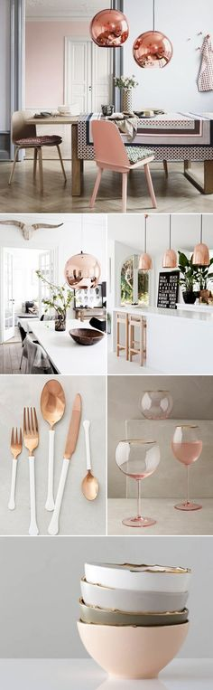 Rose Gold kitchen themes decorations really speaks for it self produces a gorgeous and timeless effect. If you like the metallic trend so much you plan to utilize it boldly, these Rose Gold kitchen gallery will inspire you Diy Home Decor Rustic, Gold Home Decor, Rose Gold Kitchen, Copper Kitchen, Kitchen Dining, Interior Design Minimalist, Sweet Home, Rose Gold Decor, Kitchen Decor Themes