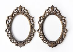 Pair of Vintage Italian Antique Brass Ornate Oval Picture Frames Baroque Bronze Scroll Steampunk Style Home Decor