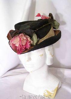 Antique Edwardian 1900s Big Deep Pink Silk Roses Real Straw Black Curl Brim Hat   eBay