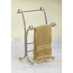 InterDesign York Lyra Metal Towel Holder Stand for Bathroom Vanities, Satin