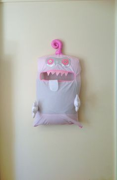 Monster Toy Bag, Exquisite Pale Pink & White Double Eye Friendly Monster, I'm a Pet, Bag, dress Up, Softie, Easter, baby, girl, toddler by ColourMeldDesigns on Etsy