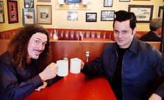 Jack White and Weird Al having coffee at a diner.  Oh to be that ketchup bottle!