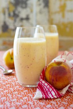 Peach Recovery Smoothie with coconut water, banana, Greek yogurt and peach | Healthy Seasonal Recipes @Katie Hrubec Schmeltzer Schmeltzer Webster
