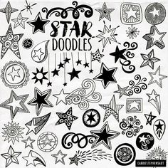Star ClipArt Design, Whimsical Swirly Flourish, Decorative Star Embellishment, Scroll Border, Fancy Line Art Silhouette Line Art Images, Star Images, Star Doodle, Doodle Art, Doodle Tattoo, Shooting Star Clipart, Bullet Journal Décoration, Scrapbook, Muster Tattoos