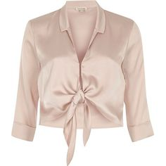 River Island Nude satin tie front shirt ($37) ❤ liked on Polyvore featuring tops, shirts, pink, satin shirt, 3/4 sleeve crop top, three quarter sleeve shirts, pink top and tie crop top