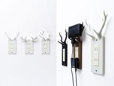 The outlet add a buckhorn cover to hold your phone while charging. The Socket-Deer Outlet Covers let you put your mobile phone on the wall as it recharges. The antlers for all three types of deer are already the perfect shape to hold things, so we hardly had to modify the forms at all. The tough urethane rubber we used for the cover holds handsets tightly, and also protects the antlers from breakage should you bump into them. Socket-deer can also be used as a cover for light switches, and the antlers make an excellent hook for keys or accessories. Pretty design!