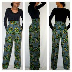 Wide Leg African Print Pants by MelangeMode ~African Prints, African women dresses, African fashion styles, african clothing