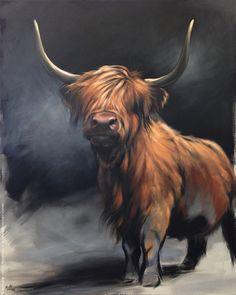 Available Paintings — Aimée Rolin Hoover Highland Cow Painting, Highland Cow Art, Scottish Highland Cow, Highland Cattle, Highland Cow Tattoo, Animal Paintings, Animal Painter, Painter Artist, Wildlife Art