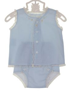 82c1eb6d9496 NEW Remember Nguyen (Remember When) Vintage Style Blue Cotton Diaper Set  with Lace and Embroidery  35.00