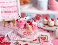 Miniature Valentine Ice Cream Sundae Set