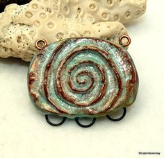 Polymer clay ceramic connector, link, faux ceramic artisan made pendant, hippie style, jewelry component aged, jewelry component, boho chic