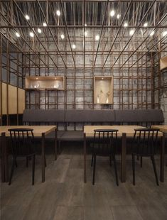 Commissioned to conceive a contemporary identity for The Noodle Rack restaurant in Changsha, China, Shanghai architecture firm Lukstudio integrates the tradition of noodle making in the spatial design by reinterpreting a noodle rack. Noodle Restaurant, Chinese Restaurant, Restaurant Design, Chinese Interior, Asian Interior, Noodle Bar, Noodle House, Bar Interior, Facades