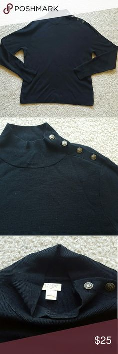 J. Crew Navy Blue Sweater - L EUC Navy Blue Lightweight Sweater. Features bronze nautical style buttons along left shoulder to neck.   Beautiful sweater which would can be dressed up or down, very versatile. J. Crew Sweaters
