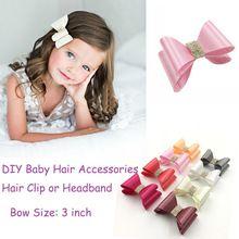 3 polegada 8 cores recém-nascido Luxe Boutique do bebê strass cetim arco de cabelo sem clipes arcos para crianças acessórios de cabelo(China (Mainland))