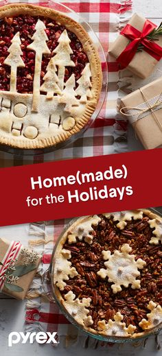 Show off your holiday spirit with beautiful holiday pies. Whether you top it with seasonal scenes or cute messaging, the perfect pie starts with the perfect crust. Made to share. Made with Pyrex. Holiday Pies, Holiday Baking, Christmas Desserts, Holiday Treats, Christmas Treats, Christmas Baking, Holiday Recipes, Christmas Cookies, Christmas Recipes