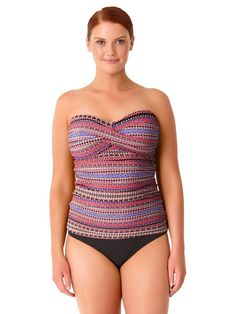 7f51629770534 Anne Cole Women's Plus Size Stevie Stripe Twist Front Bandeaukini Swim Top