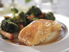 Maple-Glazed Salmon : Brown sugar, maple syrup, olive oil and teriyaki sauce give baked salmon a salty-sweet flavor without too much work. This recipe takes just 20 minutes from start to finish, which means you can spend more time with Mom.