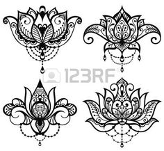 lotus flower tattoo designs: Lotus tattoo set Illustration