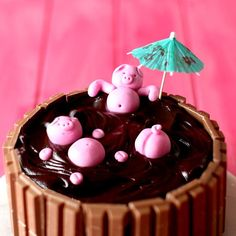 Mud Bath Cake A rich, perfectly moist chocolate mud cake is made that much better with Kit Kats and piggies on top!A rich, perfectly moist chocolate mud cake is made that much better with Kit Kats and piggies on top! Cake Decorating Videos, Cake Decorating Techniques, Crazy Cakes, Baking Recipes, Cake Recipes, Dessert Recipes, Chocolate Mud Cake, Cooking Chocolate, Chocolate Ganache
