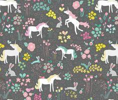 Unicorns Bunnies and Bubbles fabric by mainsail_studio on Spoonflower - custom fabric