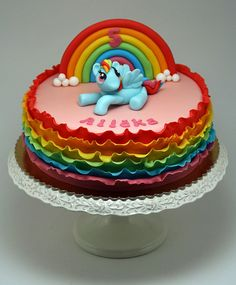 Ruffle Rainbow Cake - by mifa @ CakesDecor.com - cake decorating website