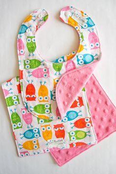 Owl Burp Rag & Bib Set, Bright Baby Bib and Burp Cloth Matching Set, Cute Baby Gift, on Etsy, $17.00