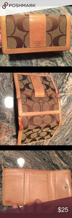 """Authentic Tan Coach Wallet Wallet has been used; spots visible in pictures. Otherwise great condition. Measures 3""""high x 4"""" wides 8.5"""" fully open across. Holds bills, pocket for change, 6 credits cards with space behind for more. Coach Bags Wallets"""
