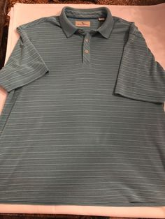 5e54167ad3 Tommy Bahama Mens Golf Polo Shirt Collar Xl Green With Blue Pinstripes |  eBay Green With