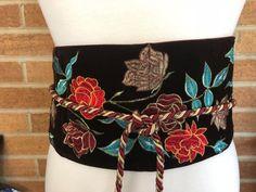 "Kimono Embroidered Sash Belt Cosplay LARP 6"" wide; removable Tassels Tassles"